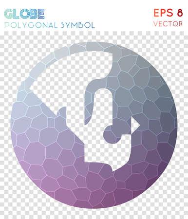 Globe polygonal symbol. Amusing mosaic style symbol. Splendid low poly style. Modern design. Globe icon for infographics or presentation. Ilustrace