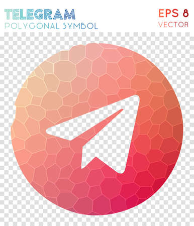 Telegram polygonal symbol. Beautiful mosaic style symbol. Ideal low poly style. Modern design. Telegram icon for infographics or presentation. Illustration