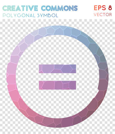 Cc nd polygonal symbol. Adorable mosaic style symbol. Dramatic low poly style. Modern design. Cc nd icon for infographics or presentation.