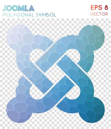 Joomla polygonal symbol. Artistic mosaic style symbol. Appealing low poly style. Modern design. Joomla icon for infographics or presentation. Ilustração