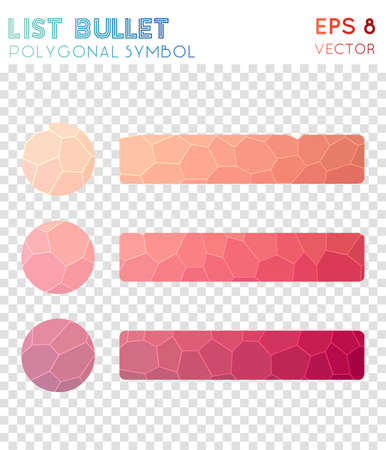 List bullet polygonal symbol. Artistic mosaic style symbol. Vibrant low poly style. Modern design. List bullet icon for infographics or presentation.