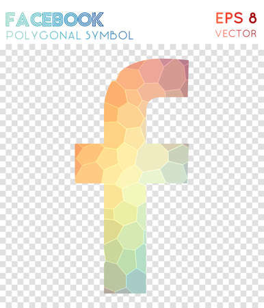 Facebook polygonal symbol. Amazing mosaic style symbol. Grand low poly style. Modern design. Facebook icon for infographics or presentation.