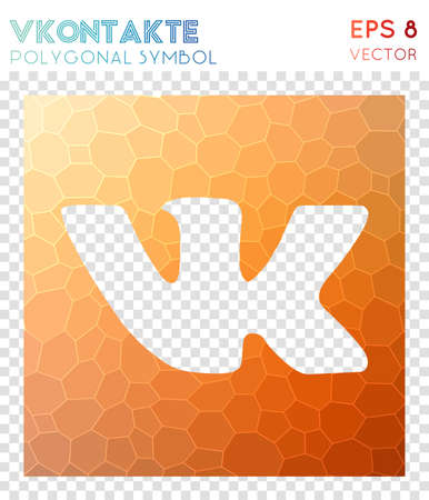Vkontakte polygonal symbol. Bizarre mosaic style symbol. Graceful low poly style. Modern design. Vkontakte icon for infographics or presentation.