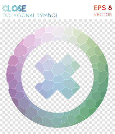 Close polygonal symbol. Adorable mosaic style symbol. Bold low poly style. Modern design. Close icon for infographics or presentation. Illustration