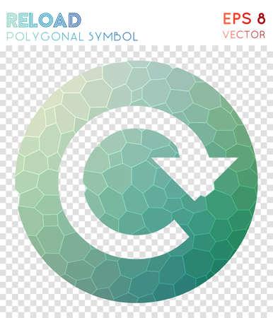 Cw circle polygonal symbol. Alive mosaic style symbol. Rare low poly style. Modern design. Cw circle icon for infographics or presentation.