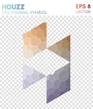 Houzz polygonal symbol. Appealing mosaic style symbol. Mesmeric low poly style. Modern design. Houzz icon for infographics or presentation.