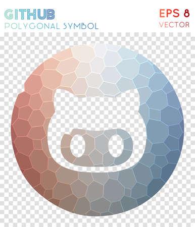 Github circled polygonal symbol. Amusing mosaic style symbol. Pleasant low poly style. Modern design. Github circled icon for infographics or presentation.
