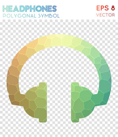 Headphones polygonal symbol. Appealing mosaic style symbol. Ecstatic low poly style. Modern design. Headphones icon for infographics or presentation.