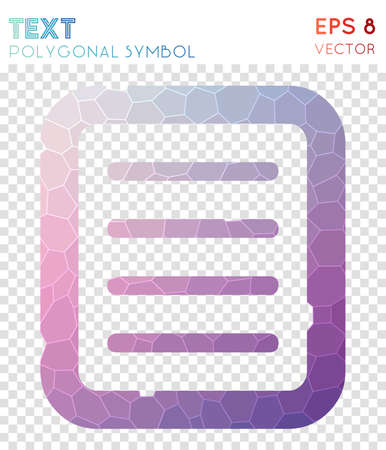 Doc text polygonal symbol. Alluring mosaic style symbol. Creative low poly style. Modern design. Doc text icon for infographics or presentation.