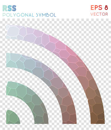 Rss polygonal symbol. Awesome mosaic style symbol. Quaint low poly style. Modern design. Rss icon for infographics or presentation. Illustration