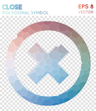 Close polygonal symbol. Adorable mosaic style symbol. Bizarre low poly style. Modern design. Close icon for infographics or presentation.