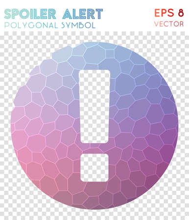 Spoiler polygonal symbol. Actual mosaic style symbol. Posh low poly style. Modern design. Spoiler icon for infographics or presentation. Illustration