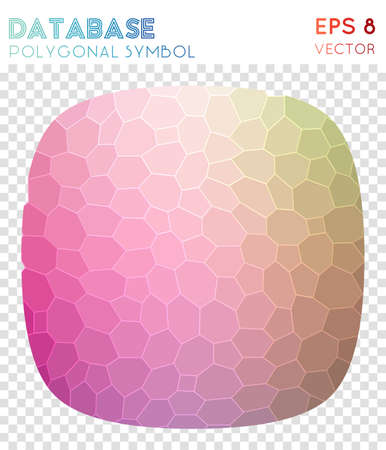 Db shape polygonal symbol. Alive mosaic style symbol. Superb low poly style. Modern design. Db shape icon for infographics or presentation.  イラスト・ベクター素材