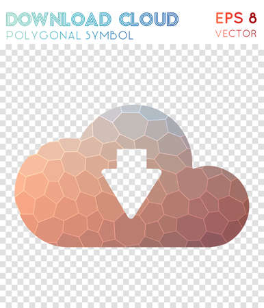 Download cloud polygonal symbol. Alluring mosaic style symbol. Modern low poly style. Modern design. Download cloud icon for infographics or presentation. Illustration