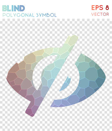 Eye off polygonal symbol. Amazing mosaic style symbol. Fascinating low poly style. Modern design. Eye off icon for infographics or presentation. Stock Illustratie