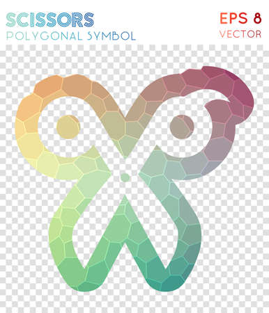 Scissors outline polygonal symbol. Awesome mosaic style symbol. Surprising low poly style. Modern design. Scissors outline icon for infographics or presentation. Illustration