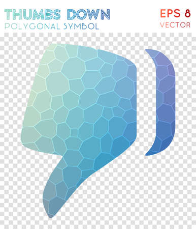 Thumbs down polygonal symbol. Beautiful mosaic style symbol. Ravishing low poly style. Modern design. Thumbs down icon for infographics or presentation. Illustration