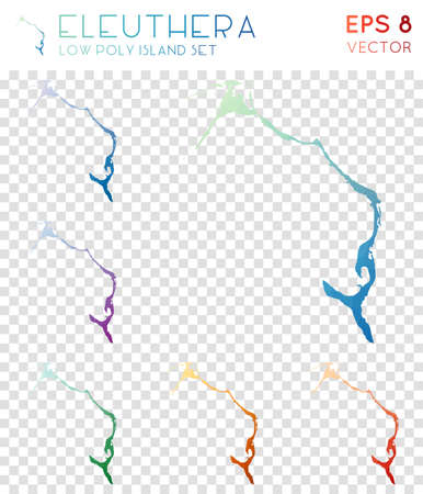 Eleuthera geometric polygonal maps, mosaic style island collection. Optimal low poly style, modern design. Eleuthera polygonal maps for infographics or presentation.