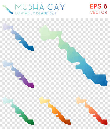 Musha Cay geometric polygonal maps, mosaic style island collection. Ecstatic low poly style, modern design. Musha Cay polygonal maps for infographics or presentation. Illustration