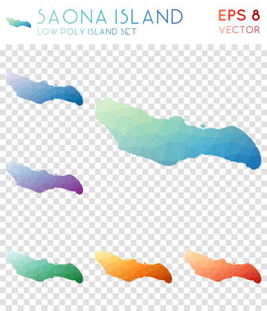 Saona Island geometric polygonal maps, mosaic style island collection. Marvelous low poly style, modern design. Saona Island polygonal maps for infographics or presentation.