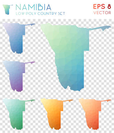 Namibia geometric polygonal maps, mosaic style country collection. Tempting low poly style, modern design. Namibia polygonal maps for infographics or presentation.