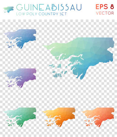 Guinea-Bissau geometric polygonal maps, mosaic style country collection. Ideal low poly style, modern design. Guinea-Bissau polygonal maps for infographics or presentation.
