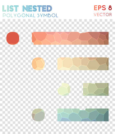 List nested polygonal symbol. Artistic mosaic style symbol. Wonderful low poly style. Modern design. List nested icon for infographics or presentation.