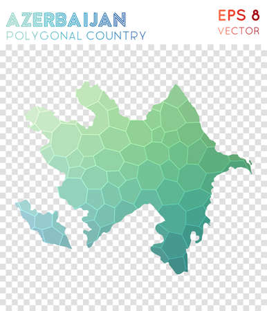 Azerbaijan polygonal map, mosaic style country. Authentic low poly style, modern design. Azerbaijan polygonal map for infographics or presentation.