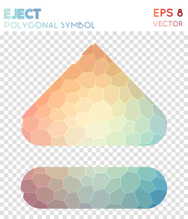 Eject alt polygonal symbol. Alluring mosaic style symbol. Trending low poly style. Modern design. Eject alt icon for infographics or presentation.