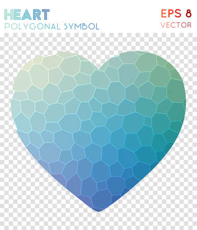 Heart polygonal symbol. Appealing mosaic style symbol. Exceptional low poly style. Modern design. Heart icon for infographics or presentation. Illustration