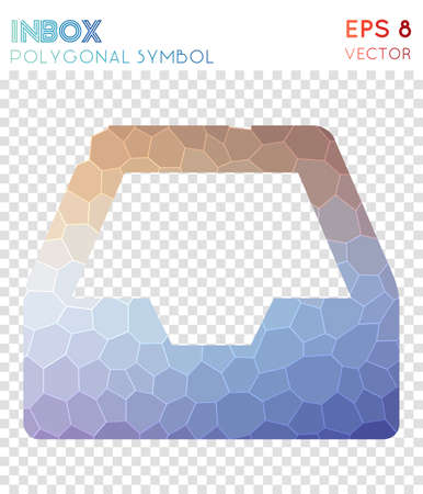 Inbox polygonal symbol. Appealing mosaic style symbol. Positive low poly style. Modern design. Inbox icon for infographics or presentation.