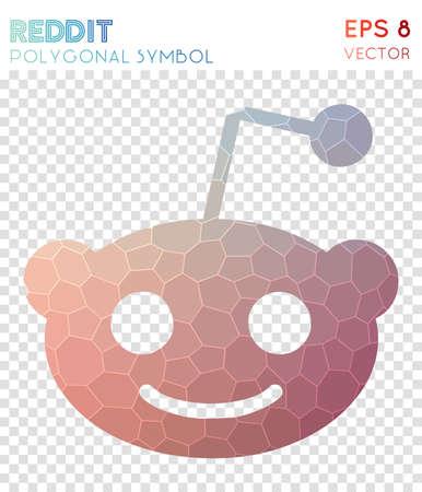 Reddit alien polygonal symbol. Awesome mosaic style symbol. Artistic low poly style. Modern design. Reddit alien icon for infographics or presentation. Illustration