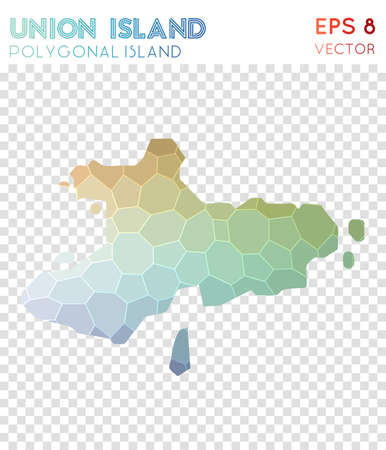 Union Island polygonal map, mosaic style island. Pretty low poly style, modern design. Union Island polygonal map for infographics or presentation. Illustration