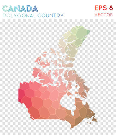 Canada polygonal map, mosaic style country. Cute low poly style, modern design. Canada polygonal map for infographics or presentation.