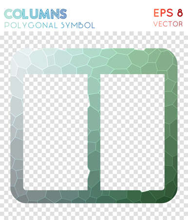 Columns polygonal symbol. Alive mosaic style symbol. Extraordinary low poly style. Modern design. Columns icon for infographics or presentation.