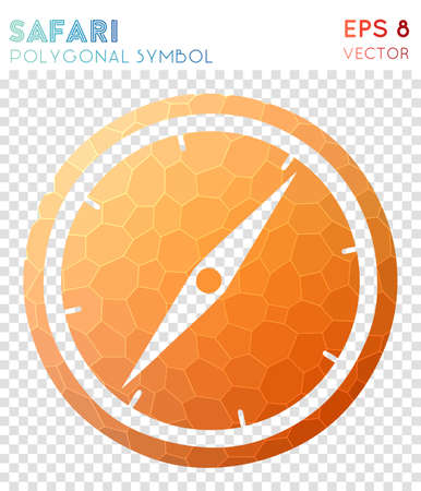 Safari polygonal symbol. Awesome mosaic style symbol. Sublime low poly style. Modern design. Safari icon for infographics or presentation.