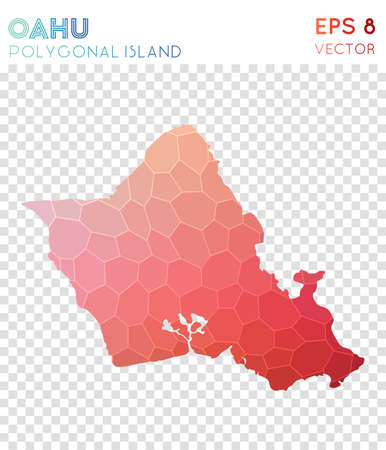 Oahu polygonal map, mosaic style island. Exceptional low poly style, modern design. Oahu polygonal map for infographics or presentation.