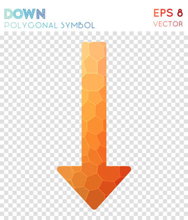 Down polygonal symbol. Alluring mosaic style symbol. Lively low poly style. Modern design. Down icon for infographics or presentation. Illustration