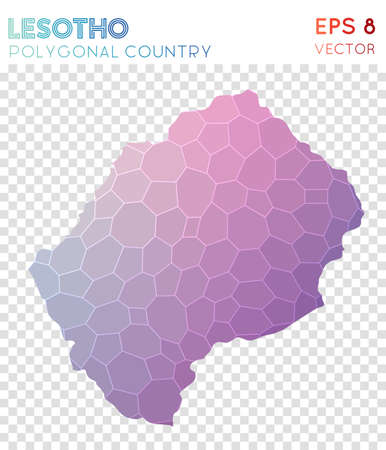 Lesotho polygonal map, mosaic style country. Precious low poly style, modern design. Lesotho polygonal map for infographics or presentation. Illustration