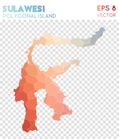 Sulawesi polygonal map, mosaic style island. Original low poly style, modern design. Sulawesi polygonal map for infographics or presentation.