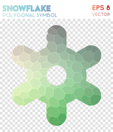 Snowflake polygonal symbol. Beauteous mosaic style symbol. Good-looking low poly style. Modern design. Snowflake icon for infographics or presentation. 矢量图像
