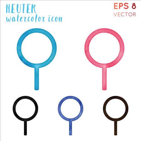 Neuter watercolor icon set. Attractive hand drawn style symbol. Fabulous watercolor symbol. Modern design for infographics or presentation.