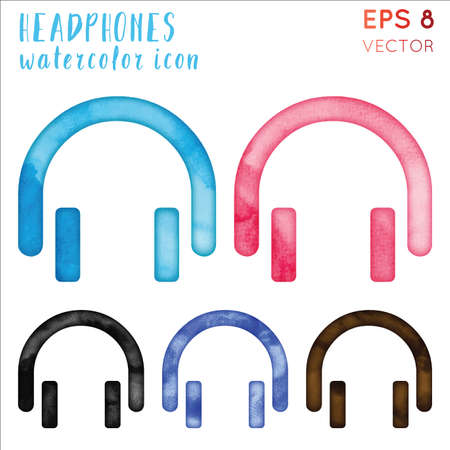 Headphones watercolor icon set. Appealing hand drawn style symbol. Delightful watercolor symbol. Modern design for infographics or presentation.