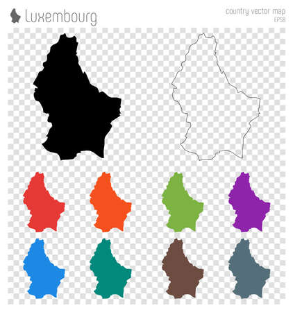 Luxembourg high detailed map. Country silhouette icon. Isolated Luxembourg black map outline. Vector illustration.