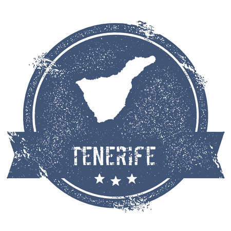 Tenerife logo sign. Travel rubber stamp with the name and map of island, vector illustration. Can be used as insignia, logotype, label, sticker or badge. Illustration
