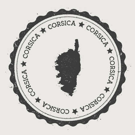 Corsica sticker. Hipster round rubber stamp with island map. Vintage passport sign with circular text and stars, vector illustration. Illustration