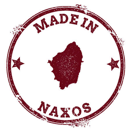 Naxos seal. Vintage island map sticker. Grunge rubber stamp with Made in text and map outline, vector illustration. Illustration