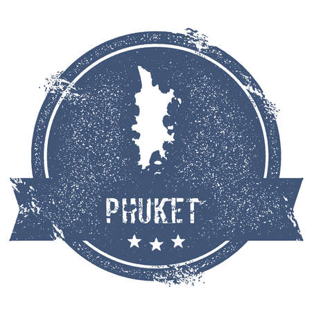 Phuket logo sign. Travel rubber stamp with the name and map of island, vector illustration. Can be used as insignia, logotype, label, sticker or badge.