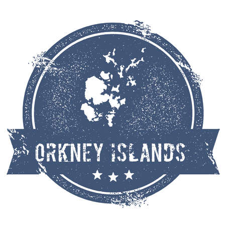 Orkney Islands logo sign. Travel rubber stamp with the name and map of island, vector illustration. Can be used as insignia, logotype, label, sticker or badge.