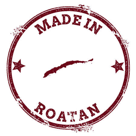 Roatan seal. Vintage island map sticker. Grunge rubber stamp with Made in text and map outline, vector illustration.